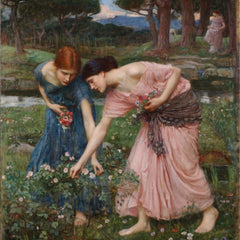 100% Hand Painted Oil on Canvas - Waterhouse - Gathering Rosebuds