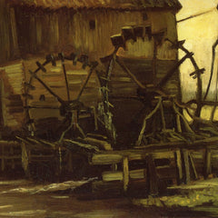 100% Hand Painted Oil on Canvas - Waterwheels by Van Gogh