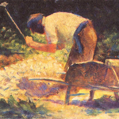 100% Hand Painted Oil on Canvas - Weed knocking with wheelbarrow by Seurat