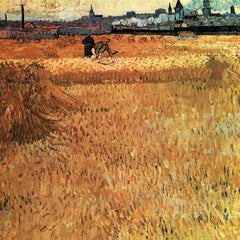100% Hand Painted Oil on Canvas - Wheat field with a view of Arles by Van Gogh