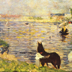 100% Hand Painted Oil on Canvas - White and black horse in the river by Seurat