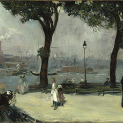 100% Hand Painted Oil on Canvas - William Glackens - East River Park