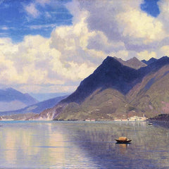 100% Hand Painted Oil on Canvas - William Haseltine - Lago Maggiore