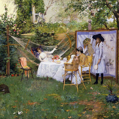 100% Hand Painted Oil on Canvas - William Merritt Chase - Open Air Breakfast