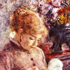 100% Hand Painted Oil on Canvas - Woman Embroidering by Renoir
