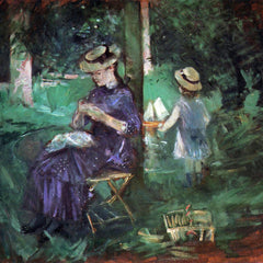 100% Hand Painted Oil on Canvas - Woman and child in Garden by Morisot