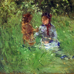 100% Hand Painted Oil on Canvas - Woman and child in garden in Bougival by Morisot