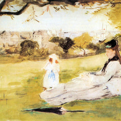 100% Hand Painted Oil on Canvas - Woman and child sitting in a field by Morisot