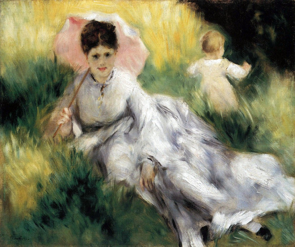 100% Hand Painted Oil on Canvas - Woman with Parasol by Renoir