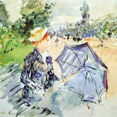 100% Hand Painted Oil on Canvas - Woman with Parasol sitting in the park by Morisot