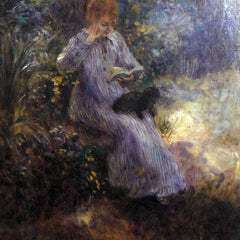 100% Hand Painted Oil on Canvas - Woman with a black dog by Renoir