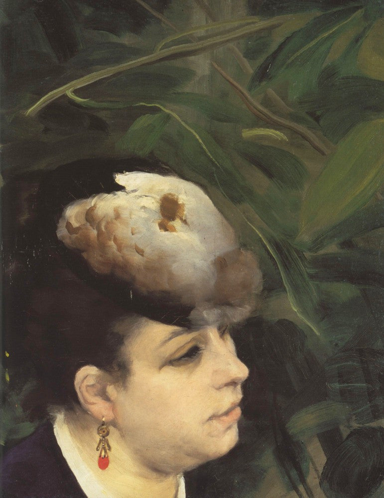 100% Hand Painted Oil on Canvas - Woman with gull feathe (Detail) by Renoir