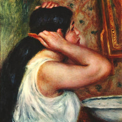 100% Hand Painted Oil on Canvas - Woman with hair combs by Renoir