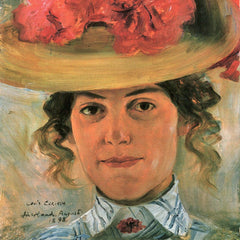 100% Hand Painted Oil on Canvas - Women's Half-portrait with straw hat by Lovis Corinth