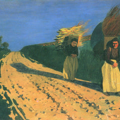 100% Hand Painted Oil on Canvas - Wood-bearing women by Felix Vallotton