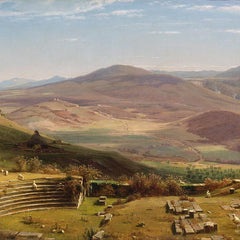 100% Hand Painted Oil on Canvas - Worthington Whittredge - The Amphitheatre of Albano Mountains, Rome