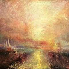 100% Hand Painted Oil on Canvas - Yacht approaching the coast by Joseph Mallord Turner
