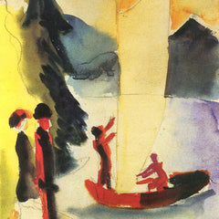 100% Hand Painted Oil on Canvas - Yellow Sail by August Macke