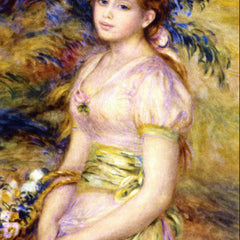 100% Hand Painted Oil on Canvas - Young Girl with a Basket of Flowers by Renoir