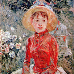 100% Hand Painted Oil on Canvas - Young girl with cage by Morisot