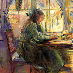100% Hand Painted Oil on Canvas - Young girl writing by Morisot