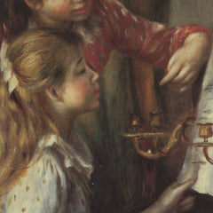 100% Hand Painted Oil on Canvas - Young girls at the piano (Detail) by Renoir