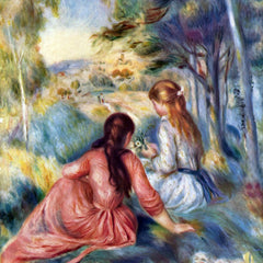 100% Hand Painted Oil on Canvas - Young girls in the meadow by Renoir