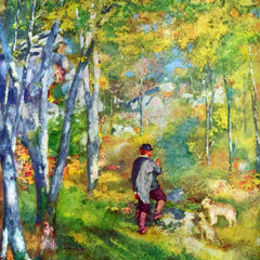 100% Hand Painted Oil on Canvas - Young man in the forest of Fontainebleau by Renoir