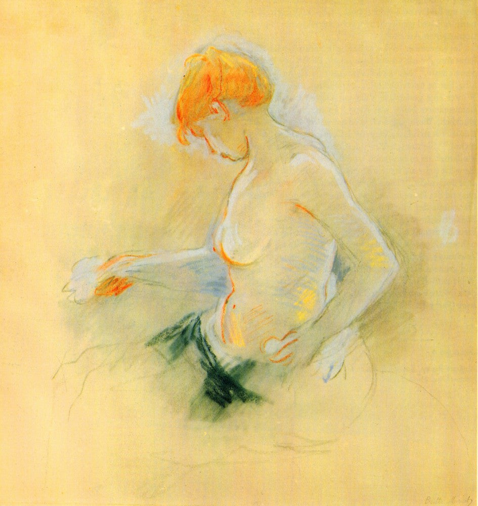100% Hand Painted Oil on Canvas - Young woman, Drying by Morisot