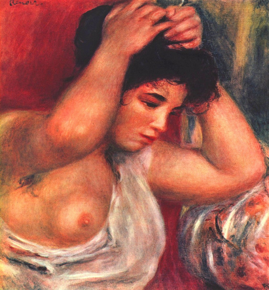 The Museum Outlet - Young woman hairdressing by Renoir