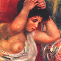 100% Hand Painted Oil on Canvas - Young woman hairdressing by Renoir