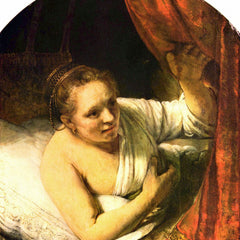 100% Hand Painted Oil on Canvas - Young woman in bed by Rembrandt