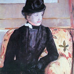 100% Hand Painted Oil on Canvas - Young woman in black by Cassatt