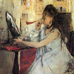 100% Hand Painted Oil on Canvas - Young woman powdering her face by Morisot