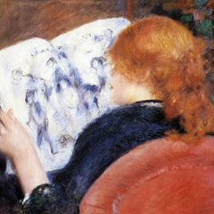 100% Hand Painted Oil on Canvas - Young woman reads illustrated journal by Renoir
