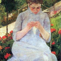 100% Hand Painted Oil on Canvas - Young woman sewing in the garden by Cassatt