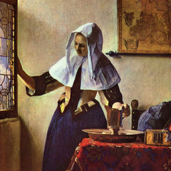 100% Hand Painted Oil on Canvas - Young woman with a water jug at the window by Vermeer