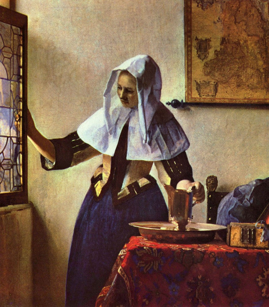 The Museum Outlet - Young woman with a water jug at the window by Vermeer