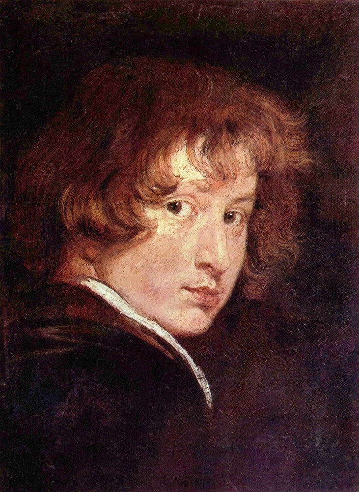 100% Hand Painted Oil on Canvas - Youthful self-portrait by Van Dyck