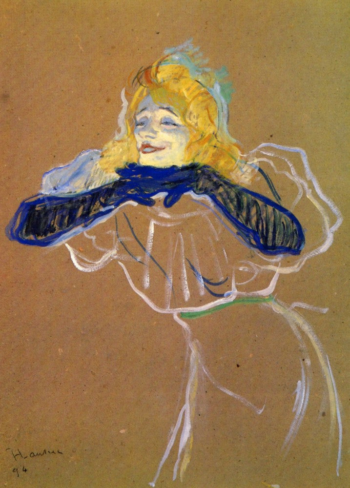 100% Hand Painted Oil on Canvas - Yvette Guilbert sings by Toulouse-Lautrec