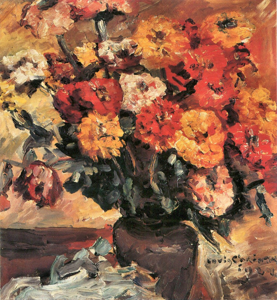 100% Hand Painted Oil on Canvas - Zinnias by Lovis Corinth