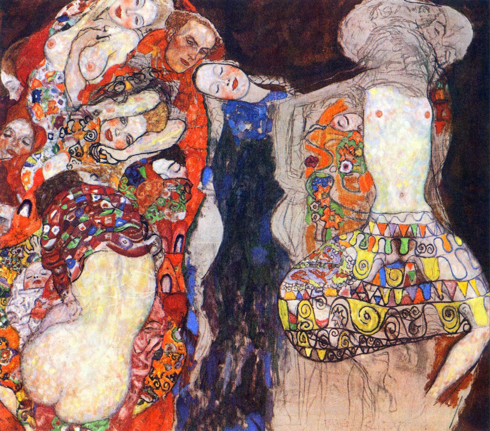 100% Hand Painted Oil on Canvas - adorn the bride with veil and wreath by Klimt