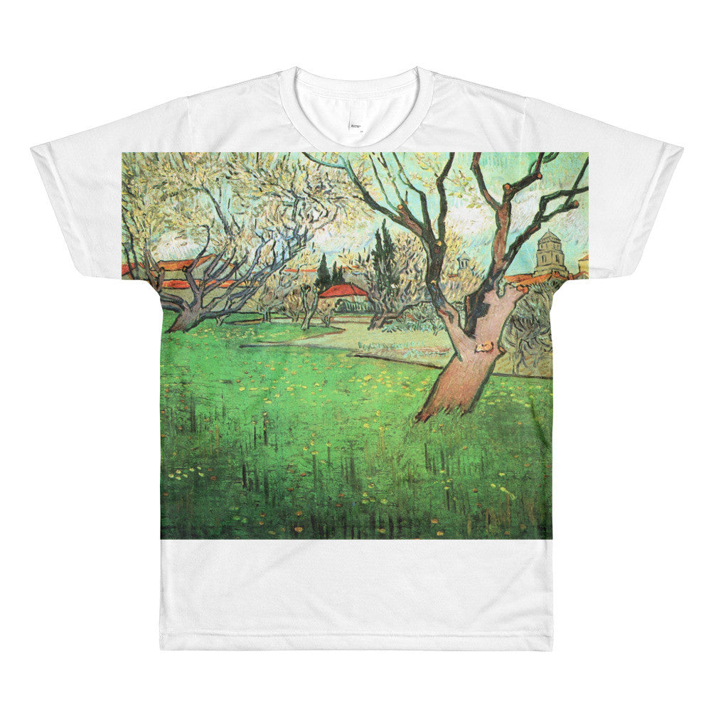 View of Arles with flowering tree by Van Gogh - Sublimation men's crewneck t-shirt - Vinteja Corporation