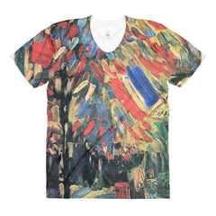 14 July in Paris by Van Gogh - Sublimation women's crew neck t-shirt - Vinteja Corporation
