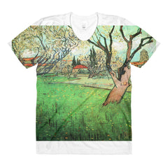 View of Arles with flowering tree by Van Gogh - Sublimation women's crew neck t-shirt - Vinteja Corporation