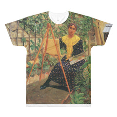 Young woman painting by Felix Vallotton - Sublimation men's crewneck t-shirt - Vinteja Corporation