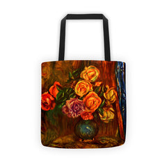Still life roses before a blue curtain by Renoir - Tote bag - Vinteja Corporation