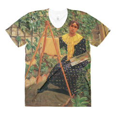 Young woman painting by Felix Vallotton - Sublimation women's crew neck t-shirt - Vinteja Corporation
