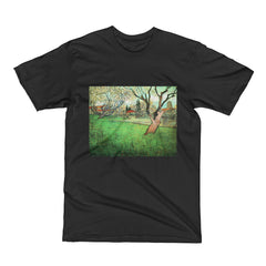 View of Arles with flowering tree by Van Gogh - Men's Short Sleeve T-Shirt - Vinteja Corporation