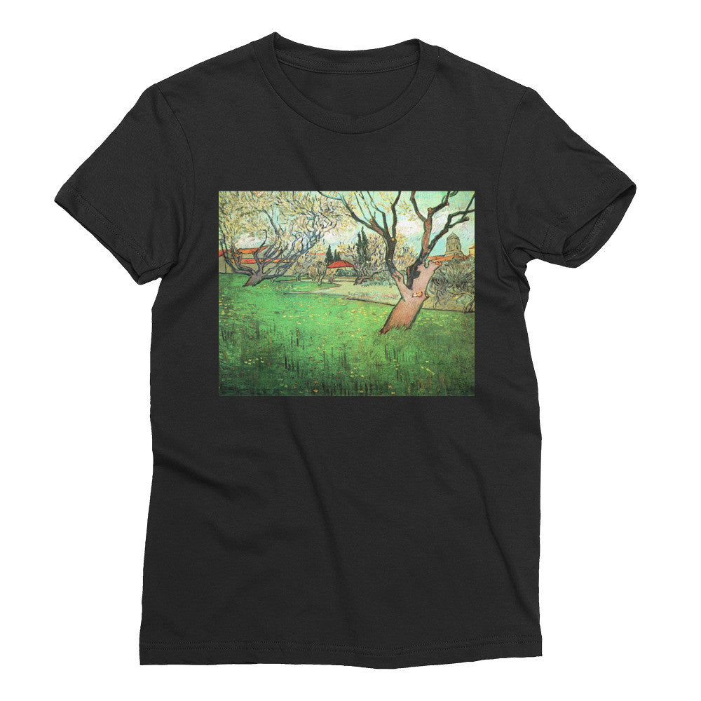 View of Arles with flowering tree by Van Gogh - Women's Short Sleeve T-Shirt - Vinteja Corporation